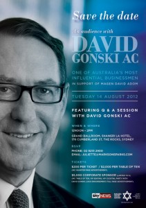 Save The Date - An Audience With David Gonski  - 14/08/2012