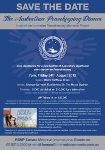Australian Peacekeeping Dinner - 24 August 2012